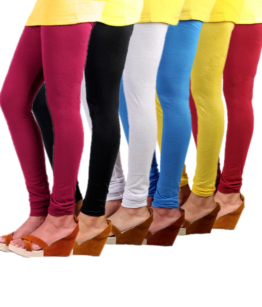 33303d7c8141e7 COCAKART - Cotton Lycra Combo of 6 Leggings with Free Designer Bag worth Rs  499